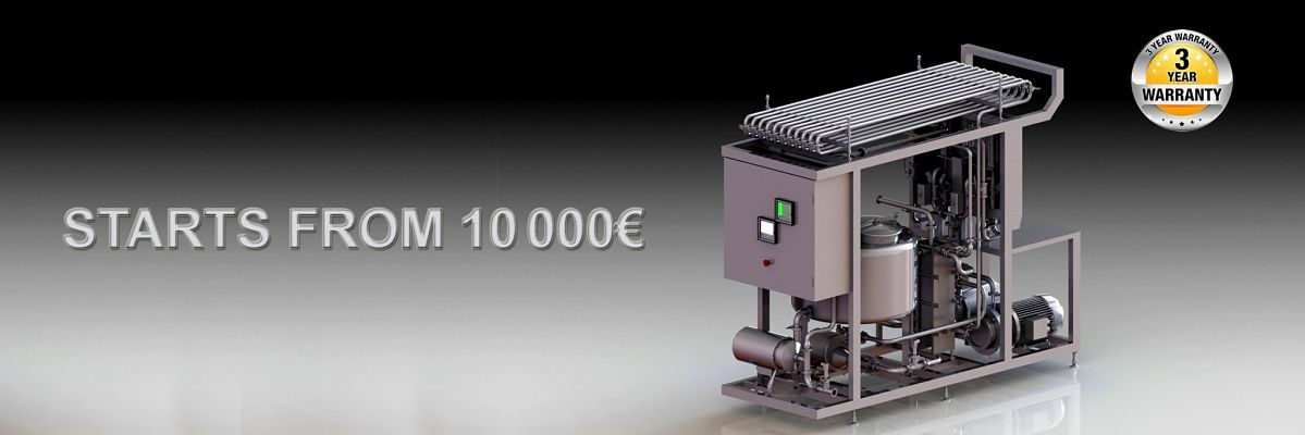 pasteurizer with integrated filling machine for milk or juice